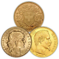 20 FRANCS GOLD COIN  FRENCH/SWISS VARIED YEAR VG
