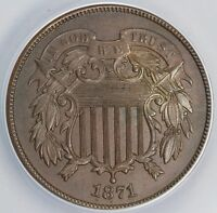 1871 2C TWO CENT PIECE ANACS MS 60 BN
