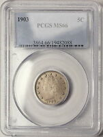 1903 PCGS MINT STATE 66 LIBERTY NICKEL, WELL STRUCK LUSTROUS COIN,  ORIGINAL SURFACES