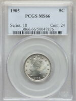 1905 PCGS MINT STATE 66 LIBERTY NICKEL, A SUPERBLY LUSTROUS GEM WITH GREAT EYE APPEAL