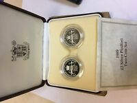 ROYAL MINT 2 STERLING SILVER PROOF PIEDFORT TWO COIN SET 198