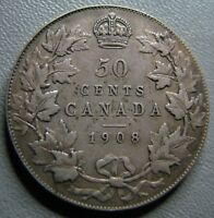 50 CENT 1908 SILVER  A859