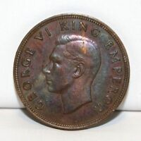1946 NEW ZEALAND 1 ONE PENNY TONED COIN KM 13