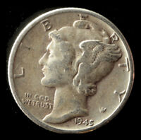 1945 P MERCURY 90  SILVER DIME SHIPS FREE. BUY 5 FOR $2 OFF