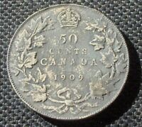 1909 50 CENTS CANADA  DATE LOW MINTAGE SILVER COIN HIGH GRADE
