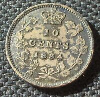 1894 10 CENTS CANADA QUEEN VICTORIA LOW MINTAGE  SILVER COIN