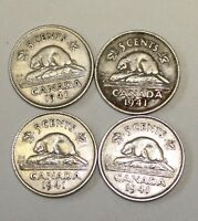 CANADA 5 CENTS COIN 1941. NICKEL. 4 PCS