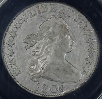 1806/5 50C DRAPED BUST HALF DOLLAR ANACS VF 35 DETAILS CLEANED