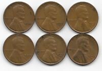 1939 1939D 1939S 1940 1940D 1940S LINCOLN WHEAT CENT CENTS 6 COIN LOT