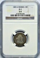 1805 DRAPED BUST DIME NGC JR-2 12 BERRIES G6 FANTASTIC DETAILS FOR LOWER GRADE.
