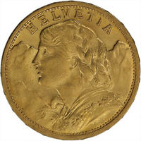 ON SALE  20 FRANCS SWISS GOLD COIN   HELVETIA  BU