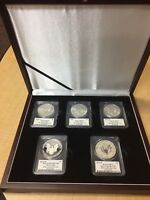 2011 25TH ANNIVERSARY SILVER EAGLE SIGNED BY JOHN M. MERCANTI 5 COIN SET PCGS FS
