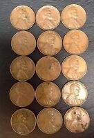 LOT OF 15  1946, 1947, 1948, 1949 & 1950 P, D & S 1C LINCOLN WHEAT CENTS