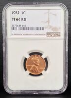 1954 1C LINCOLN WHEAT PROOF CENT NGC PF 66 RD