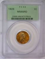 1926 LINCOLN WHEAT CENT PENNY  PCGS MINT STATE 66 RD MINT STATE 66 RED OGH 503