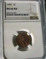 1944 1C LINCOLN WHEAT CENT NGC MINT STATE 66RD