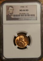 1944 LINCOLN WHEAT CENT 1 - GRADED BY NGC MINT STATE 66 RED-3919085-136