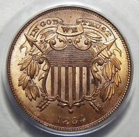 1864 SMALL MOTTO PCGS MINT STATE 64RD TWO-CENT PIECE