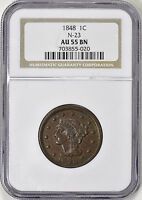 1848 BRAIDED HAIR LARGE CENT N-23 NGC AU-55 R-3