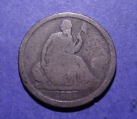 1837 NO STARS LARGE DATE SEATED LIBERTY DIME  G/AG