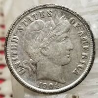 1904 BARBER DIME 10C SILVER COIN  LOOKING US TYPE
