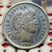 1900 BARBER DIME 10C SILVER COIN  LOOKING US TYPE