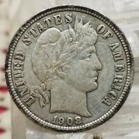 1908 BARBER DIME 10C SILVER COIN  LOOKING US TYPE