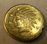 TINY CALIFORNIA GOLD SOUVENIR COIN  DATED 1849 WITH INDIAN HEAD