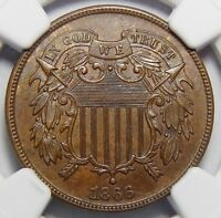 1866 NGC MINT STATE 63BN TWO-CENT PIECE