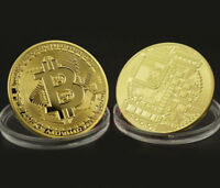 BITCOIN COMMEMORATIVE ROUND COLLECTORS COIN BIT COIN FOR 24K GOLD PLATED