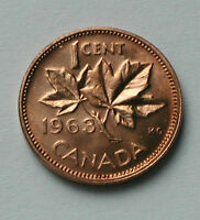 1963 CANADA COIN    1 CENT   UNC RED   FILLING ERROR   EXTRA METAL IN MAPLE LEAF