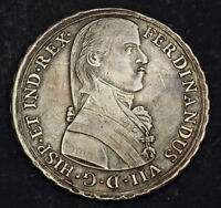 1808 PERU FERDINAND VII OF SPAIN. SILVER 8 REALES SIZED PROCLAMATION MEDAL.
