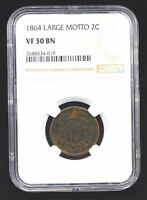 1864 2C LARGE MOTTO 2 CENT NGC VF 30 BN PRETTY CHOCOLATE COLOR LOW PRICE