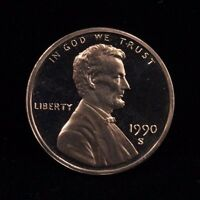 1990 S UNCIRCULATED MINT PROOF LINCOLN CENT 1C COIN DCAM
