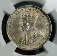 1927 AUSTRALIA GEORGE V. CERTIFIED SILVER SHILLING COIN. NGC MS 62