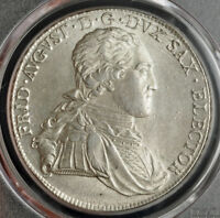 1800 SAXONY FREDERICK AUGUSTUS III. LARGE SILVER THALER COIN. PCGS MS 62