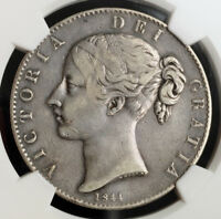 1844 GREAT BRITAIN QUEEN VICTORIA. LARGE SILVER CROWN. STAR STOPS  NGC VF 35