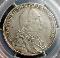 1766 HESSE CASSEL FREDERICK II. BEAUTIFUL SILVER 2/3 THALER COIN. PCGS AU 50