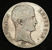 1805 FRANCE  1ST EMPIRE  NAPOLEON I. LARGE SILVER 5 FRANCS COIN. VF