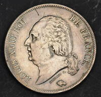 1822 FRANCE LOUIS XVIII  2ND RESTORATION . LARGE SILVER 5 FRANCS COIN. XF