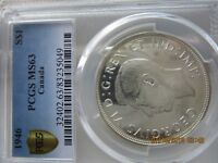 1946 S$1 LUSTROUS CANADA SILVER DOLLAR PCGS MS63 BOOK VALUE