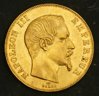 1857 FRANCE  2ND EMPIRE  NAPOLEON III. HEAVY GOLD 50 FRANCS COIN. 16.08GM