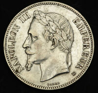 1869 FRANCE  2ND EMPIRE  NAPOLEON III. LARGE SILVER 5 FRANCS COIN. STRASBOURG