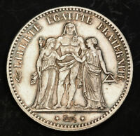 1876 FRANCE  3RD. REPUBLIC . BEAUTIFUL SILVER 5 FRANCS COIN. SCRATCHED AU