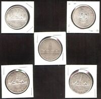 5 CANADIAN SILVER DOLLARS  $1.00  1939 1960 1962 1963 1964