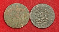 1741/1764 NETHERLANDS ZEELAND. COPPER DUIT COINS.  CORRODED F /VF   2PCS