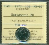 1977 CANADA 10 CENT NBU ICCS MS 66 AFFORDABLE FOR NEW HOBBYIST