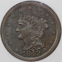 1849 1/2C LARGE DATE BRAIDED HAIR C-1 HALF CENT NGC MINT STATE 64 BN