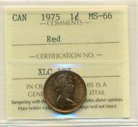 1975 CANADA SMALL CENT RED ICCS MS 66