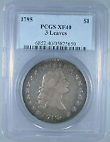 1795 FLOWING HAIR DOLLAR 3 LEAVES EXTRA FINE -40 PCGS CERTIFIED